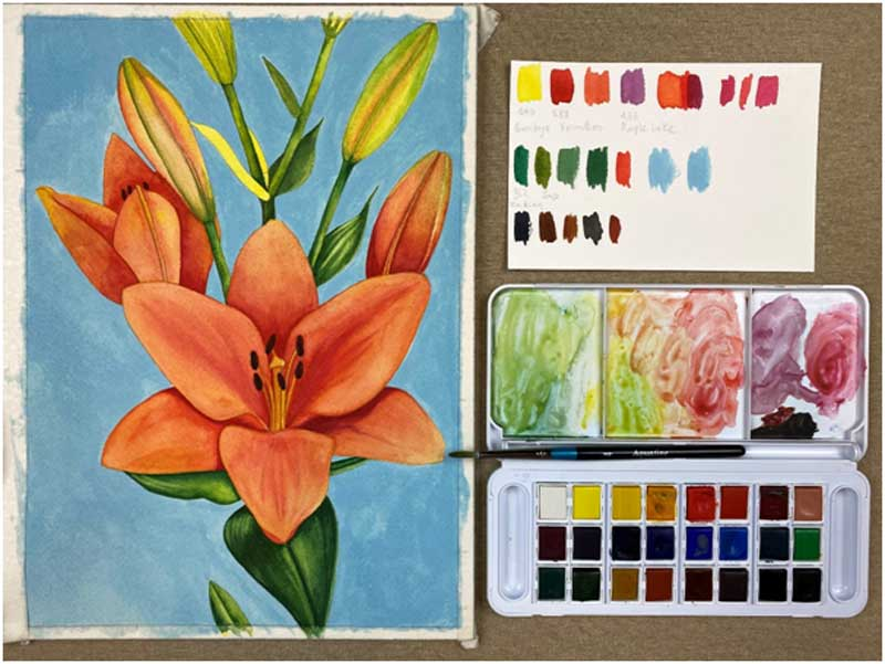 "Coloring ""Lilies"" flowers with Aquafine aquarelle & Simply Watercolor Pad of Daler Rowney!"