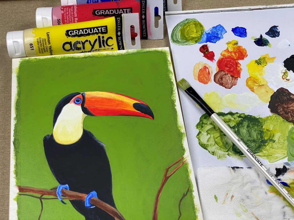 Coloring a tropical Tucan bird with acrylic colors Graduate Acrylic of Daler Rowney